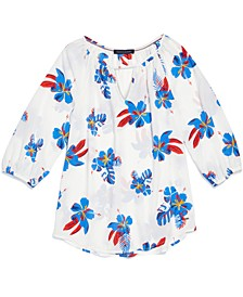 Women's Floral-Print Blouse with Magnetic Closure