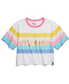 Women's Rainbow Cropped T-Shirt with Wide Neck Opening