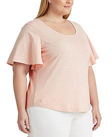 Lauren Ralph Lauren Plus Size Cotton Scoop-Neck T-Shirt