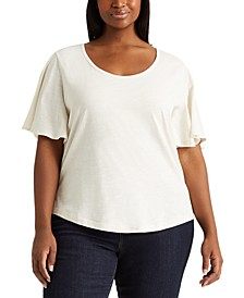 Plus Size Cotton Scoop-Neck T-Shirt