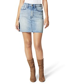 HR Cut-Hem Denim Mini Skirt