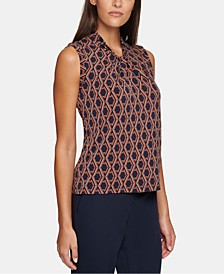 Sleeveless Printed Knot-Neck Top