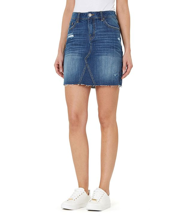 Numero Distressed Cotton Denim Pencil Skirt