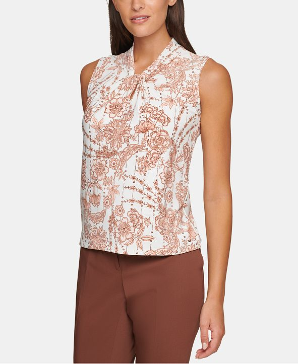 Tommy Hilfiger Sleeveless Printed Knot-Neck Top
