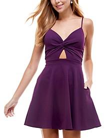 Juniors' Cutout Lace-Back Fit & Flare Dress