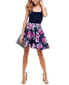 Juniors' Floral-Skirt Fit & Flare Dress