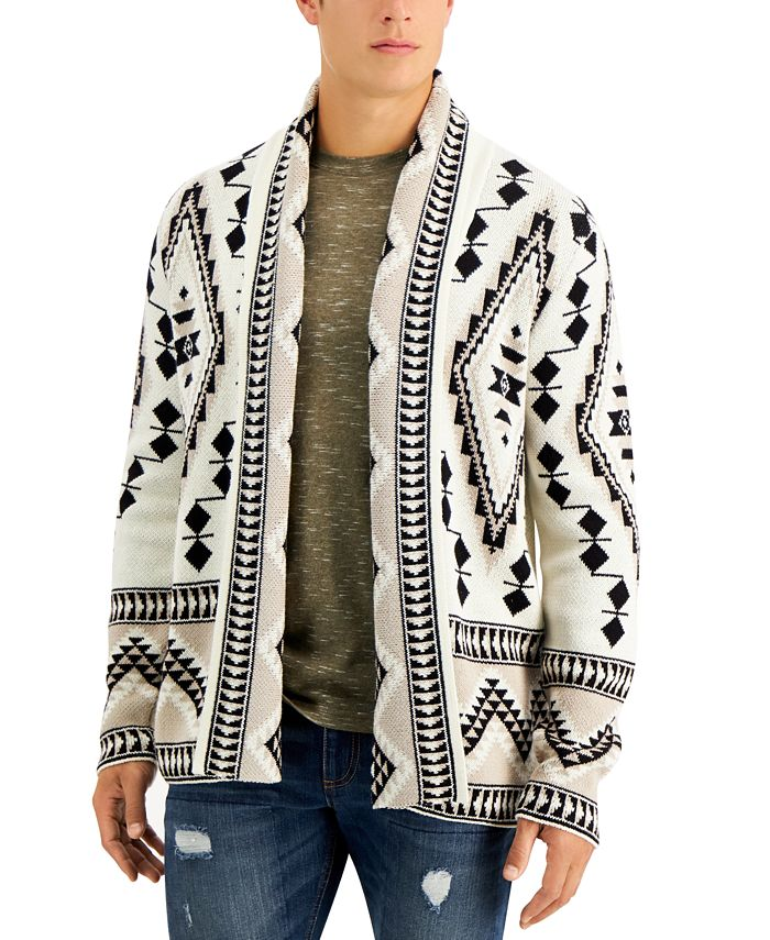 Sun + Stone - Men's Rye Regular-Fit Geo Cardigan