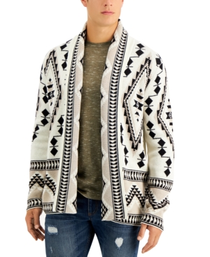 Men's Vintage Sweaters History Sun  Stone Mens Rye Regular-Fit Geo Cardigan $70.00 AT vintagedancer.com