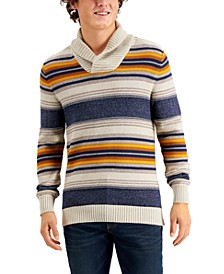 Men's Blanket Stripe Shawl Sweater