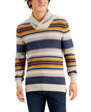 Men's Vintage Sweaters History Sun  Stone Mens Blanket Stripe Shawl Sweater $19.99 AT vintagedancer.com