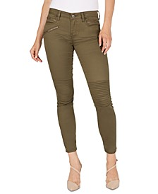 Mid-Rise Moto Skinny Ankle Jeans