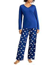 Mixit Solid Top & Plaid Flannel Pajama Pants Set, Created for Macy's