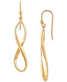 Polished Infinity Drop Earrings in 14k Gold