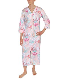 Floral-Print Zipper Front Robe