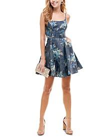 Juniors' Textured Metallic Fit & Flare Dress