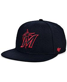 '47 Brand Miami Marlins Bright Red Shot Snapback Cap