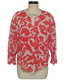 Petite Printed Split-Neck Top, Created For Macy's