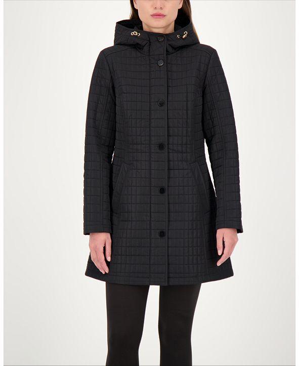 Jones New York Hooded Water-Resistant Quilted Coat