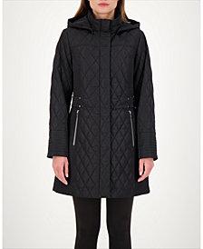 Jones New York Hooded Quilted Water-Resistant Coat