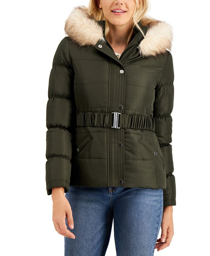 Maralyn & Me - Juniors' Hooded Faux-Fur-Trim Belted Puffer Coat