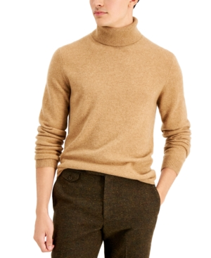 Men's Vintage Sweaters History Tasso Elba Mens Cashmere Turtleneck Sweater Created for Macys $86.99 AT vintagedancer.com