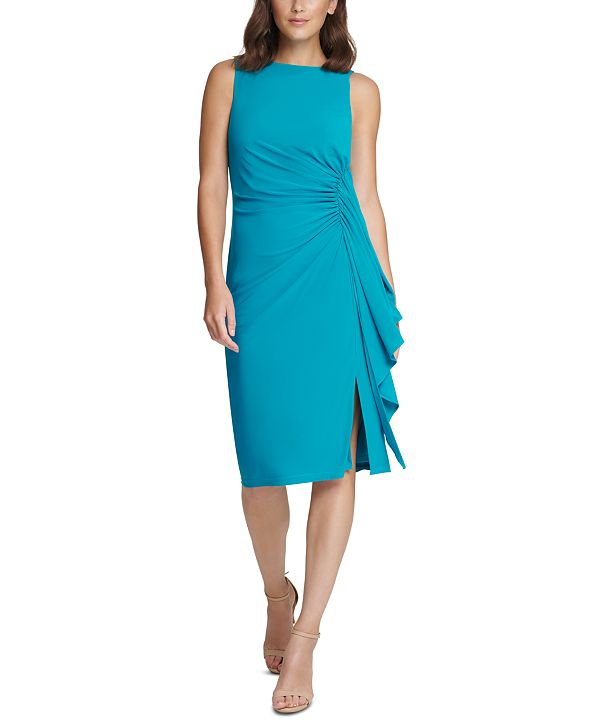 Vince Camuto Ruched Ruffled Midi Dress