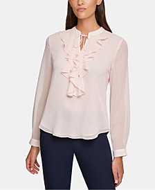 Ruffled Split-Neck Blouse
