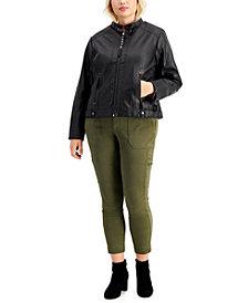 Maralyn & Me Trendy Plus Size Faux-Leather Jacket