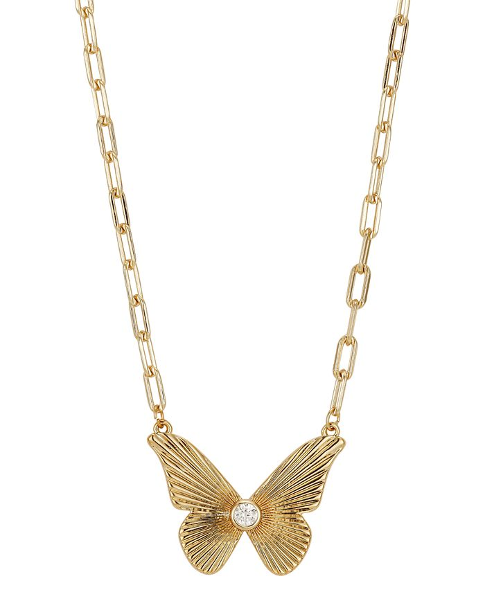 """Unwritten - Crystal Butterfly Pendant Necklace in Gold-Flash, 16"""" + 2"""" extender"""