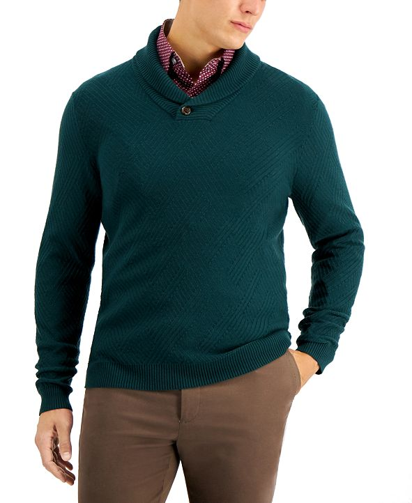 Tasso Elba Men's Textured Shawl-Collar Sweater, Created for Macy's