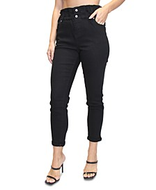 Juniors' Double-Roll Paperbag-Waist Jeans
