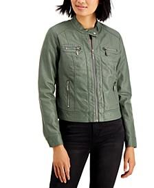 Juniors' Faux-Fur-Lined Moto Jacket