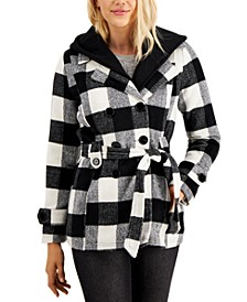 Juniors' Double-Breasted Belted Hoodie Coat, Created for Macy's