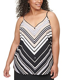 Plus Size Chevron-Striped Camisole