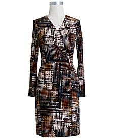 Hardware-Trim Surplice Dress