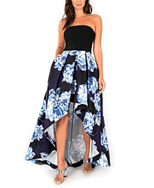 Juniors' Floral-Skirt High-Low Dress
