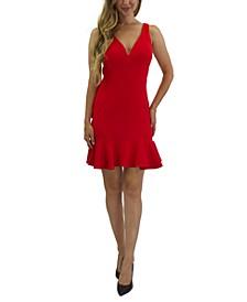 Juniors' Ruffle-Hem Bodycon Dress