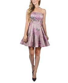 Juniors' Strapless Floral-Print Dress