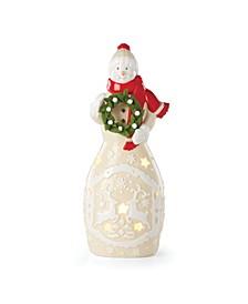 Festive Folk Light-Up Snowman Figurine