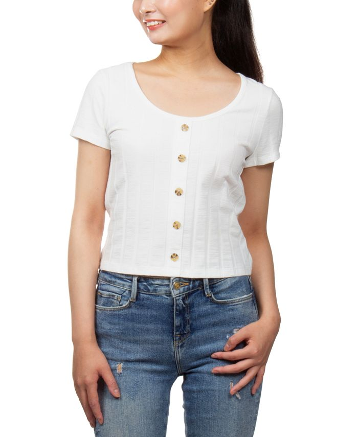 Pink Rose - Juniors' Ribbed-Knit Button-Detail Cropped Top