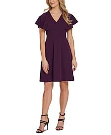V-Neck Ruffle-Sleeve Dress