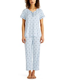 Petite Cotton Capri Pajama Set, Created for Macy's