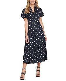 Polka Dot Flutter-Sleeve Dress