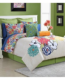 Lucia Cotton 4-Pc. Reversible Full Comforter Set