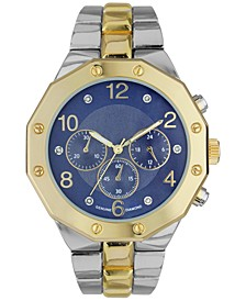 INC Men's Two-Tone Diamond-Accent Bracelet Watch 44mm, Created for Macy's