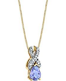 """Tanzanite (3/4 ct. t.w.) & Diamond (1/10 ct. t.w.) 18"""" Pendant Necklace in 14k Gold"""