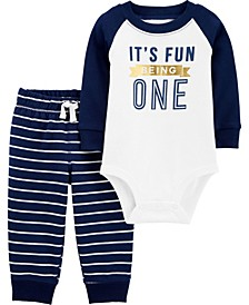 Baby Boy 2-Piece First Birthday Bodysuit Pant Set