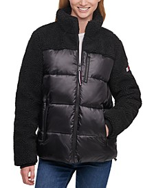 Fleece-Detail Puffer Coat