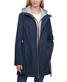 Hoodie-Lined Belted Raincoat