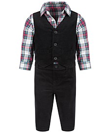 Toddler Boys 3-Pc. Plaid Shirt, Corduroy Vest & Pants Set, Created for Macy's